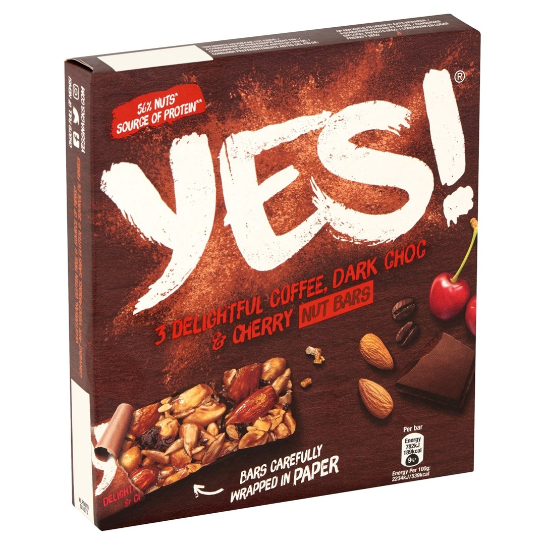 Productafbeelding YES Snack Reep Koffie Kers & Donkere Chocolade 3x32 Gram Doos