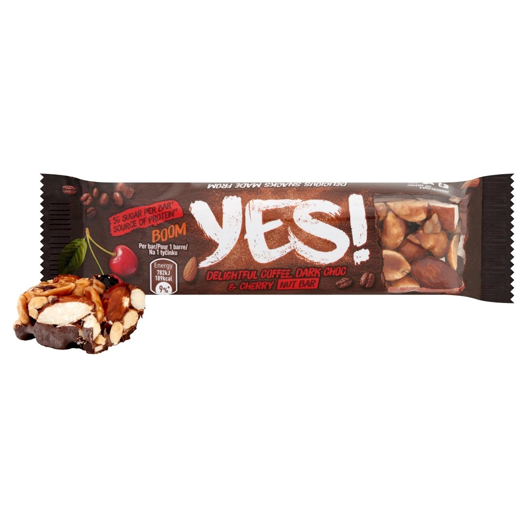 Productafbeelding YES Snack Reep Koffie Kers & Donkere Chocolade 35 Gram Wikkel