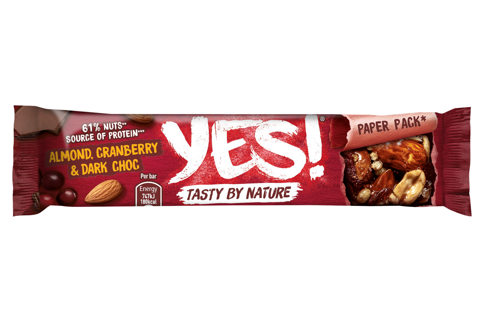 Productafbeelding YES Snack Reep Cranberry & Donkere Chocolade 32 Gram Wikkel