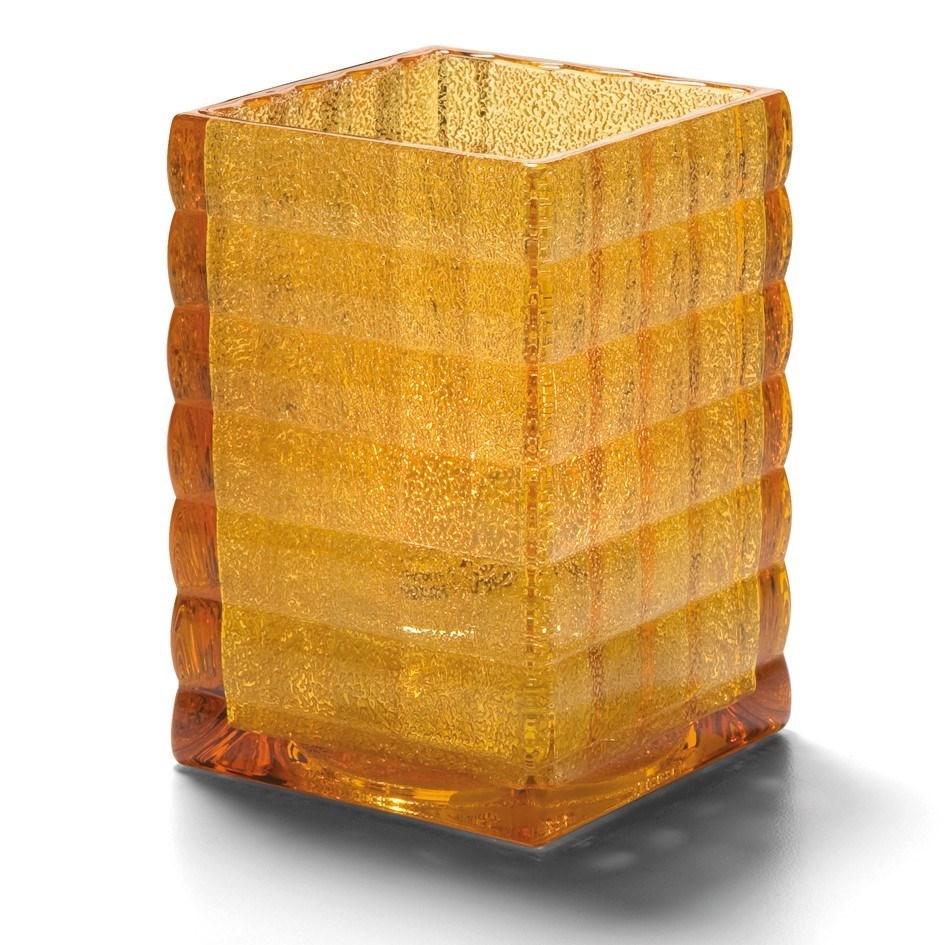 Productafbeelding Vierkante glashouder amber 6,5 x 9,5 cm