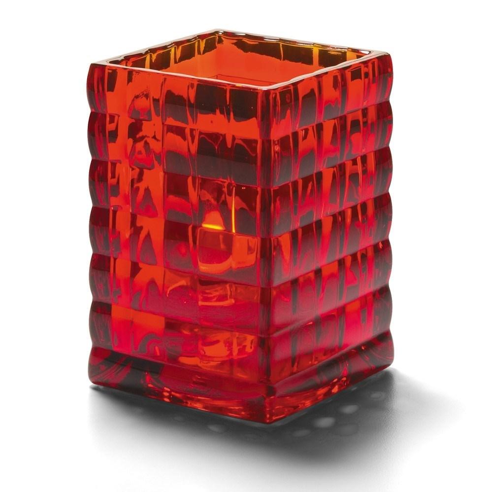 Productafbeelding Vierkante glashouder robijnrood 6,5 x 9,5 cm