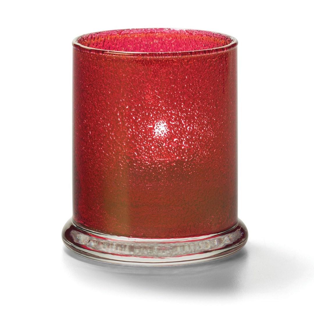 Productafbeelding Cilinder glas breed onderstel rood 7,6 x 9 cm