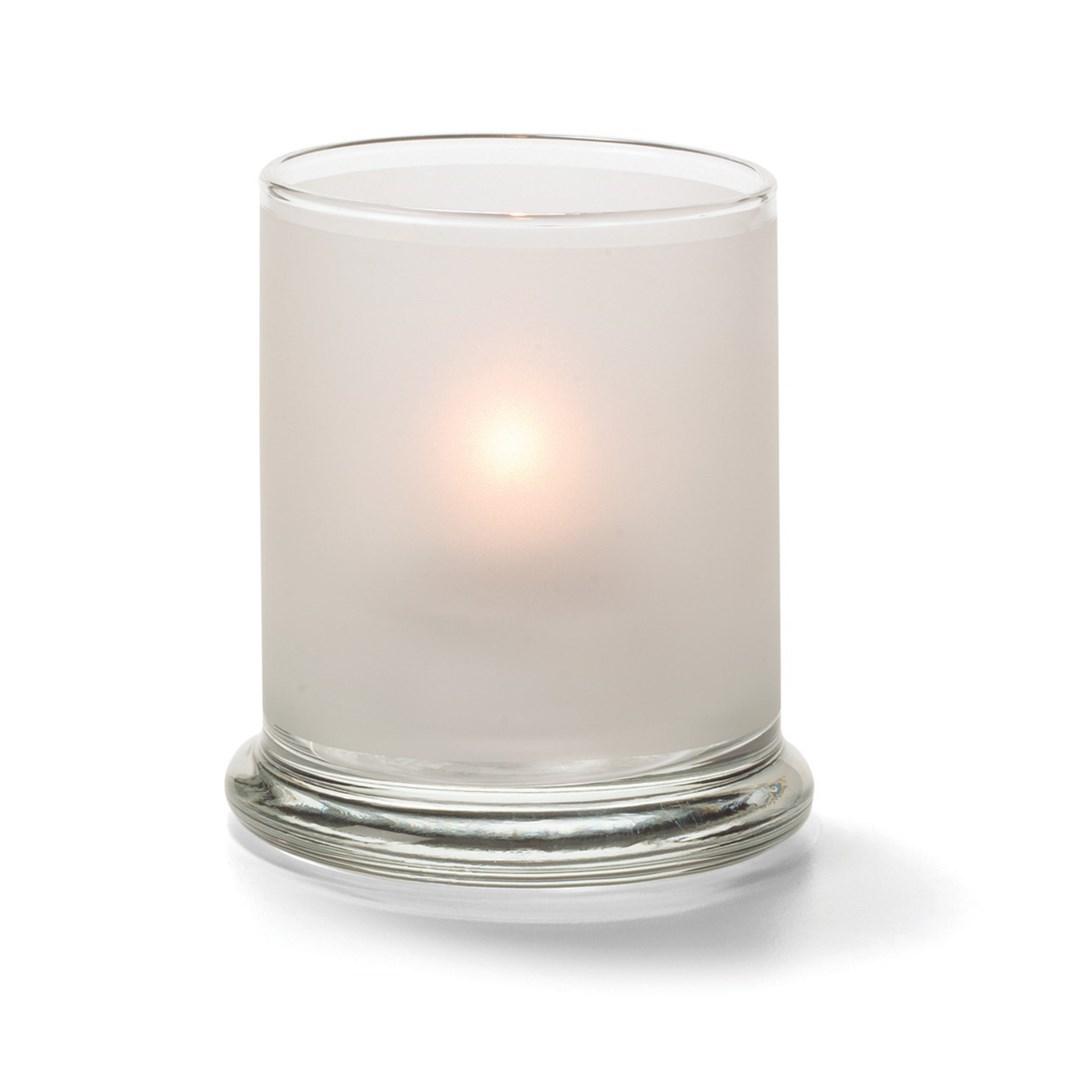 Productafbeelding Cilinder glas breed onderstel wit 7,6 x 9 cm