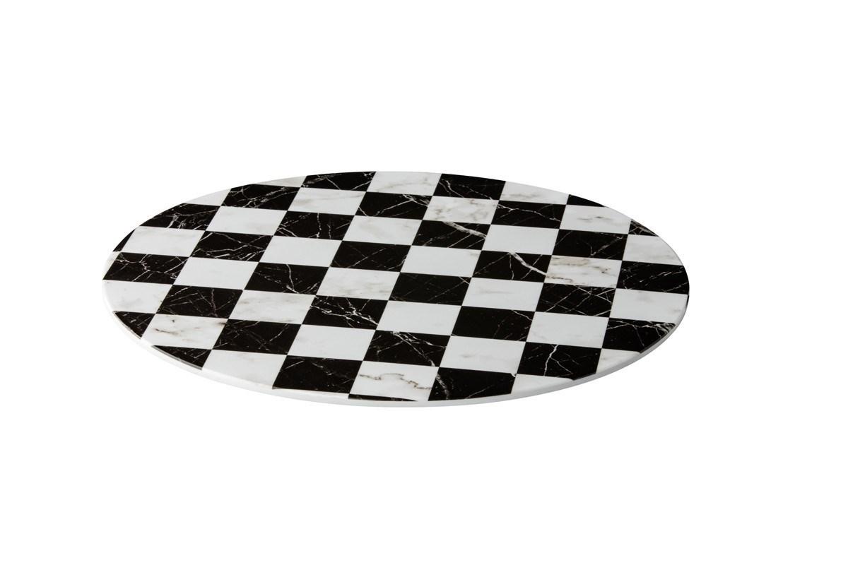 Productafbeelding Plateau zwart/wit geblokt rond 33cm