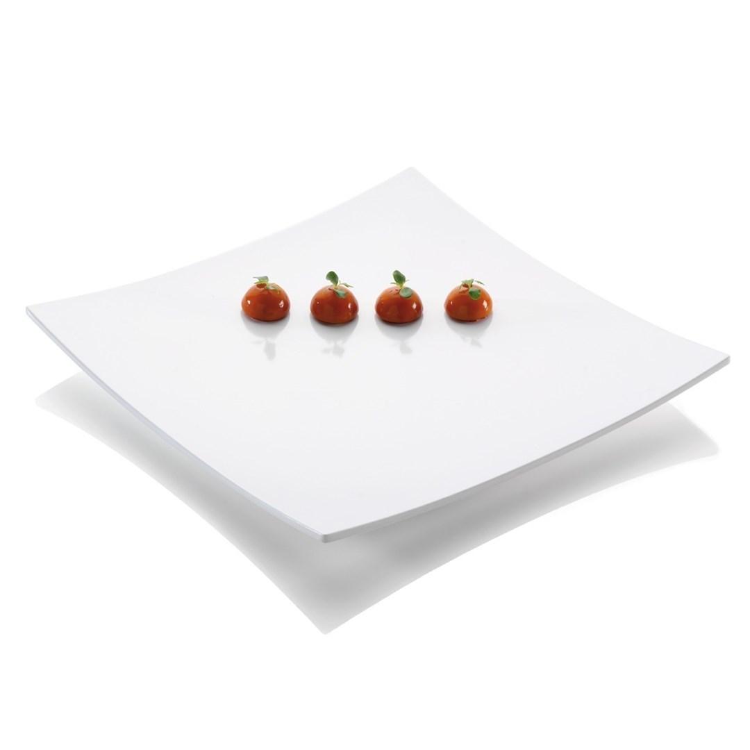 Productafbeelding Gebogen vierkant plateau wit 42 x 42 x 5 cm