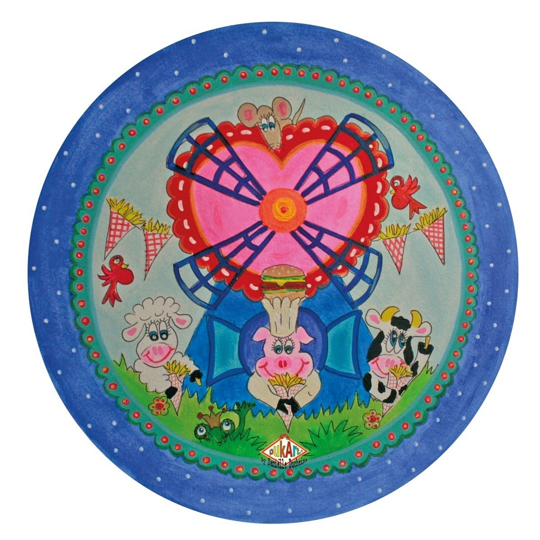 Productafbeelding Kinderbord met rand 'frietmolen' blauw 26,7 cm