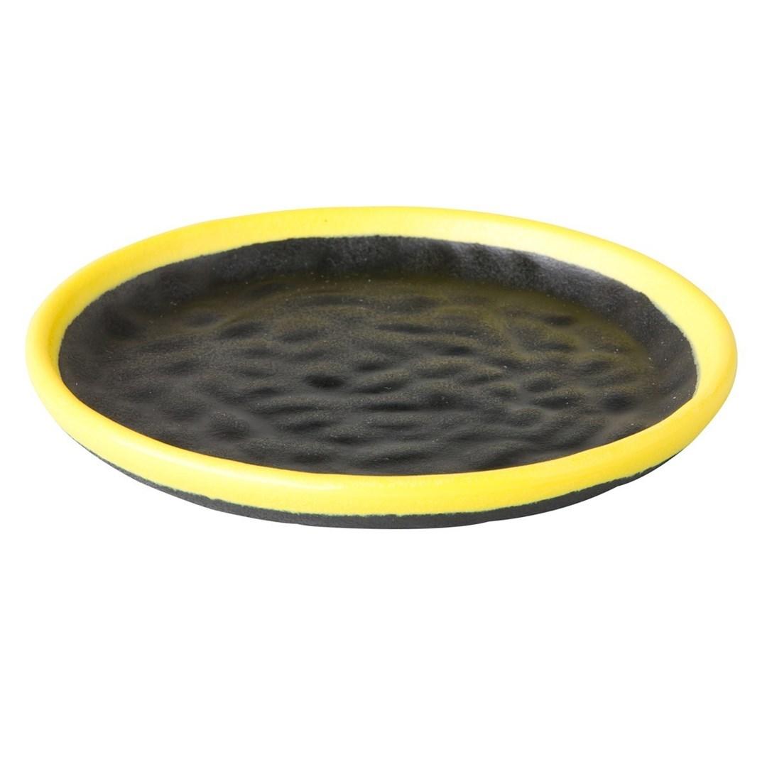 Productafbeelding Rond sushibord zwart/geel Asia 15 cm