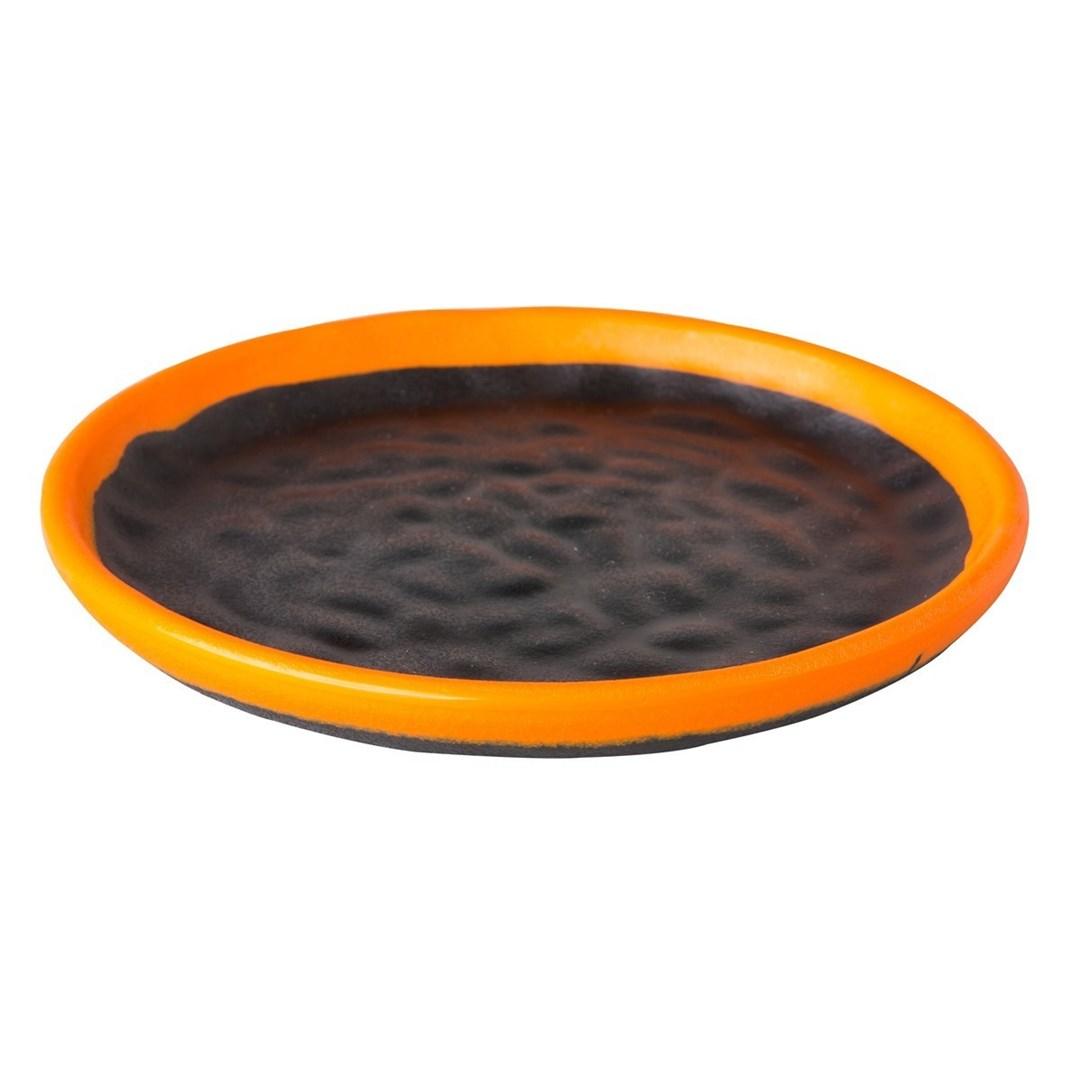 Productafbeelding Rond sushibord zwart/oranje Asia 15 cm