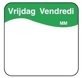 Productafbeelding Vol. oplosbare sticker vrijdag 25 mm 500/rol