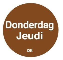 Productafbeelding Permanente sticker donderdag 19 mm 1000/rol