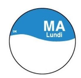 Productafbeelding Perm. sticker m/schrijfvlak maandag 19 mm 1000/rol