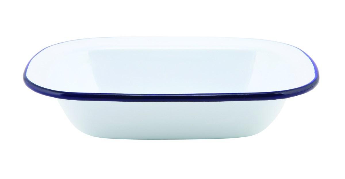 Productafbeelding Emaille ovenschaal met blauwe rand 18 cm