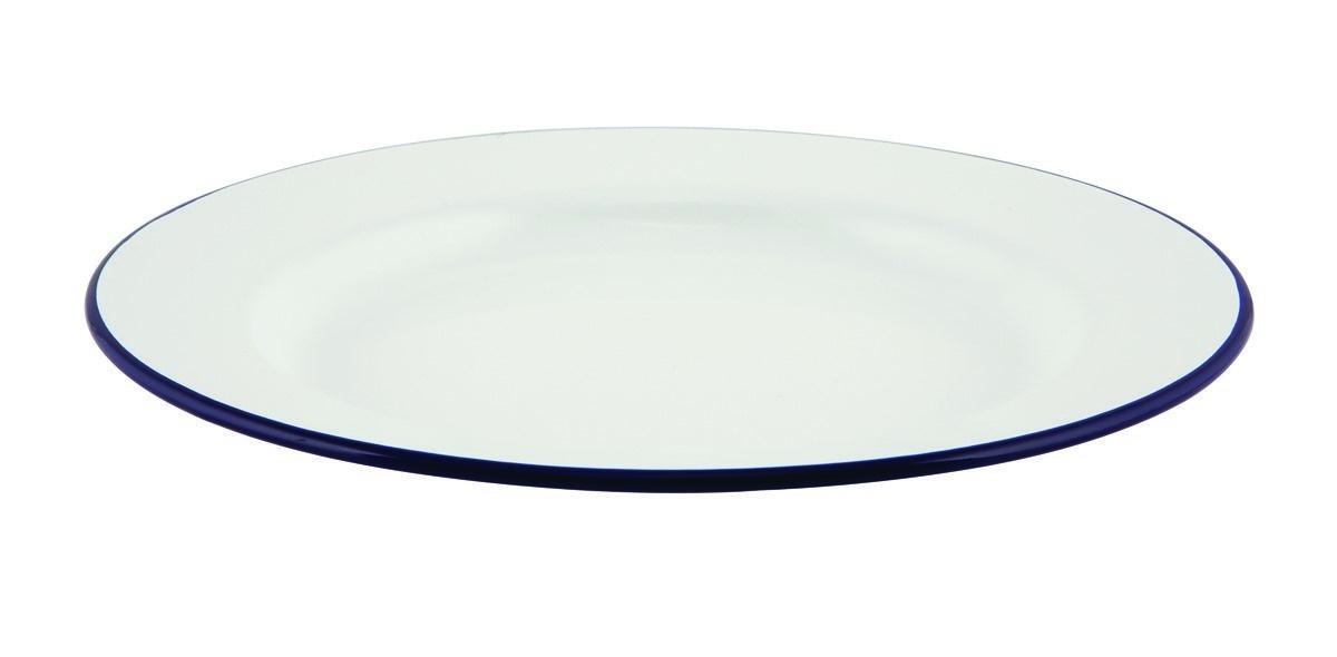 Productafbeelding Emaille bord met blauwe rand 24 cm