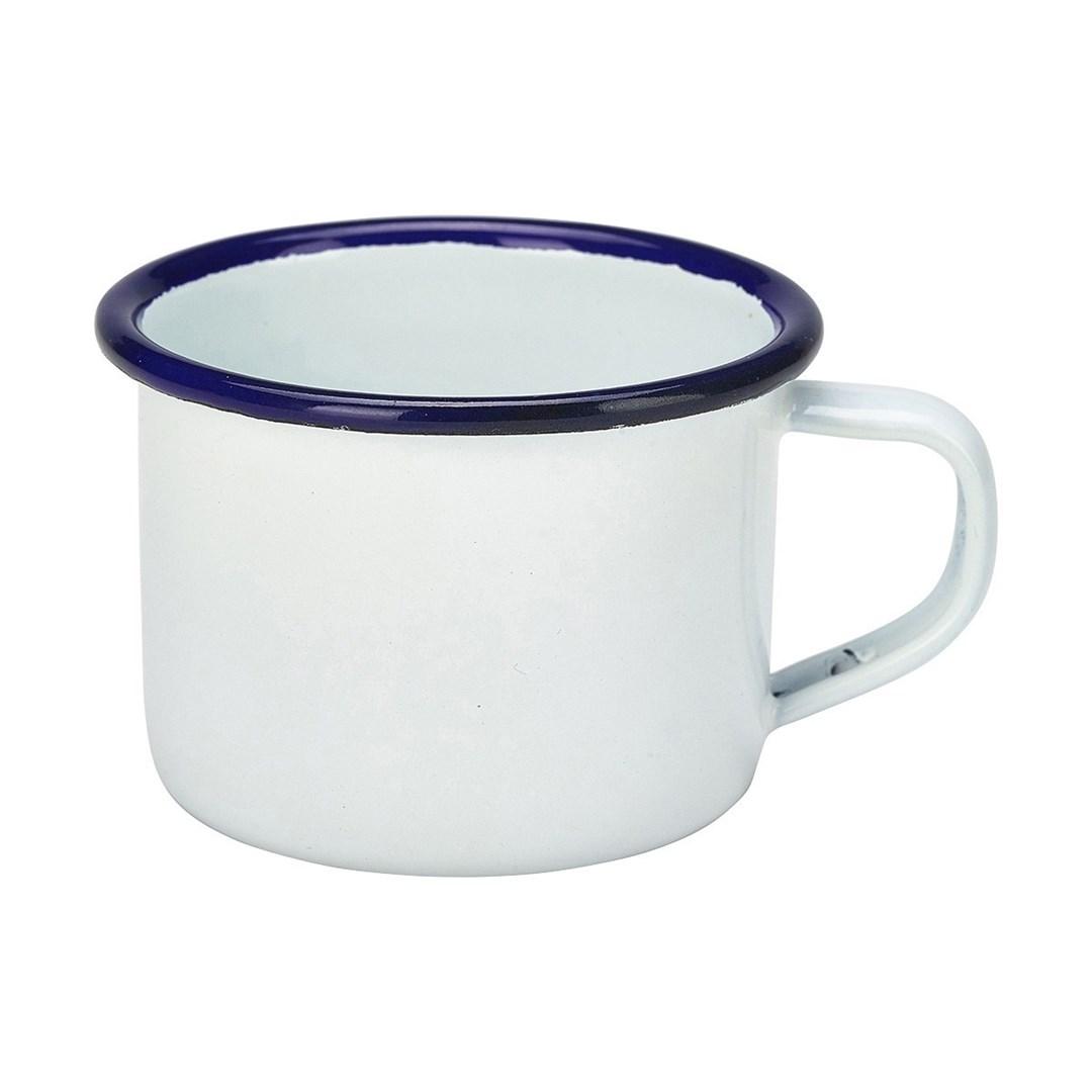 Productafbeelding Emaille mini mok met blauwe rand 120 ml
