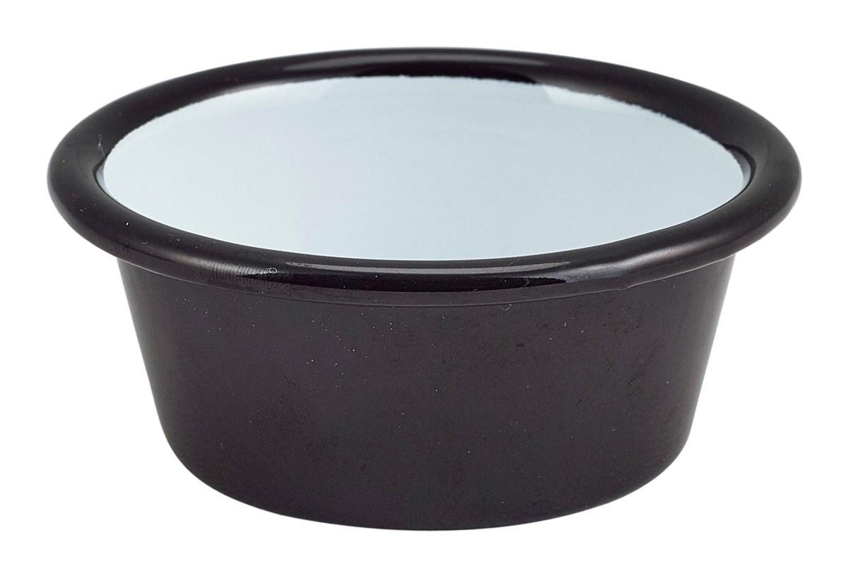 Productafbeelding Emaille ramekin zwart met zwarte rand Ø8cm 90ml
