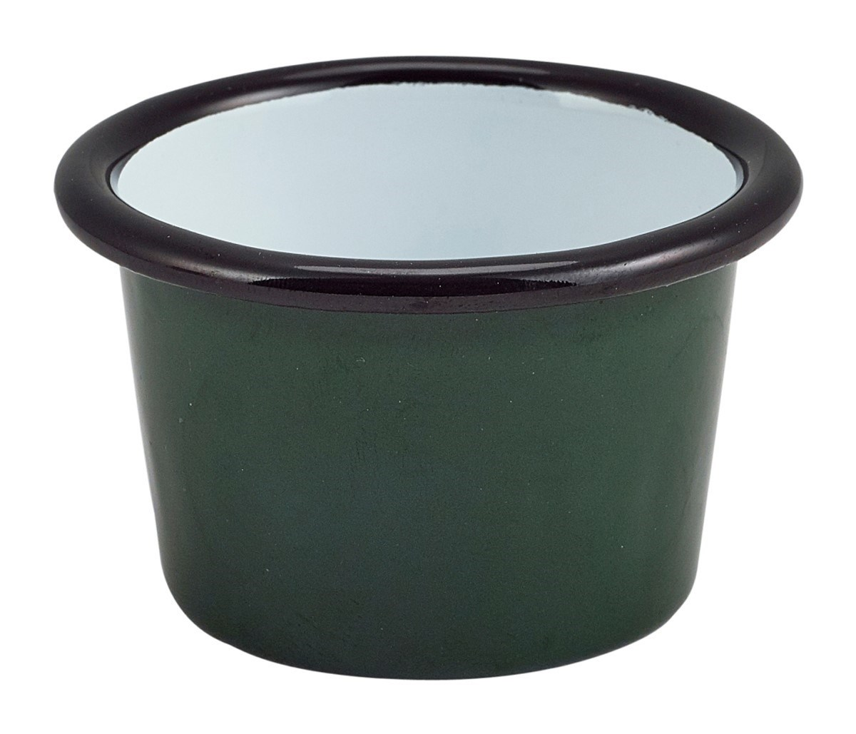 Productafbeelding Emaille ramekin groen met zwarte rand Ø8cm 90ml