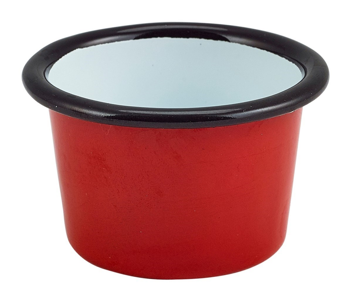 Productafbeelding Emaille ramekin rood met zwarte rand Ø8cm 90ml