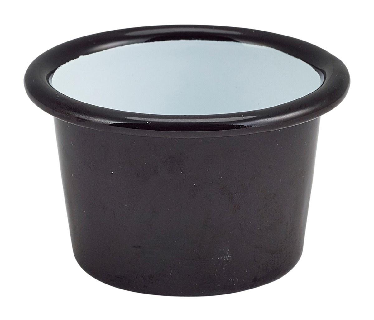 Productafbeelding Emaille ramekin zwart met zwarte rand Ø6,8cm 90ml