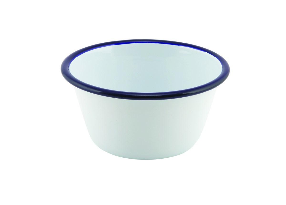 Productafbeelding Emaille ovenschaal rond met blauwe rand 12 cm