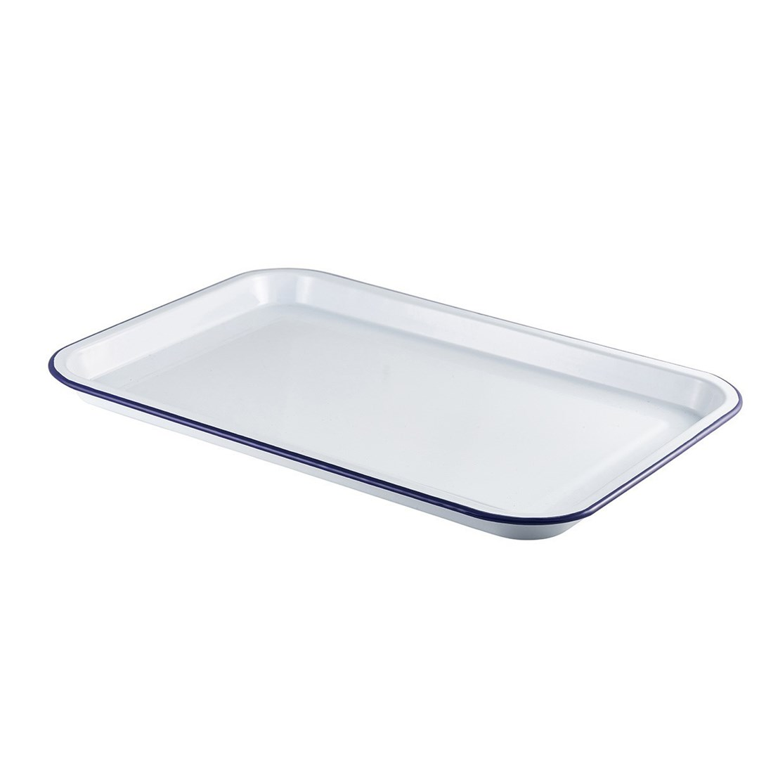 Productafbeelding Emaille foodplateau wit/blauw 30,5 x 23,5 cm