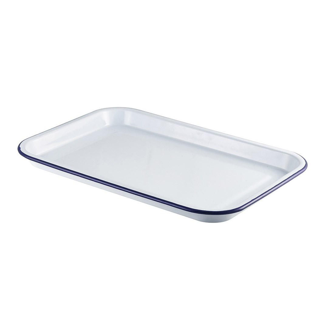 Productafbeelding Emaille foodplateau wit/blauw 38,2 x 26,4 cm