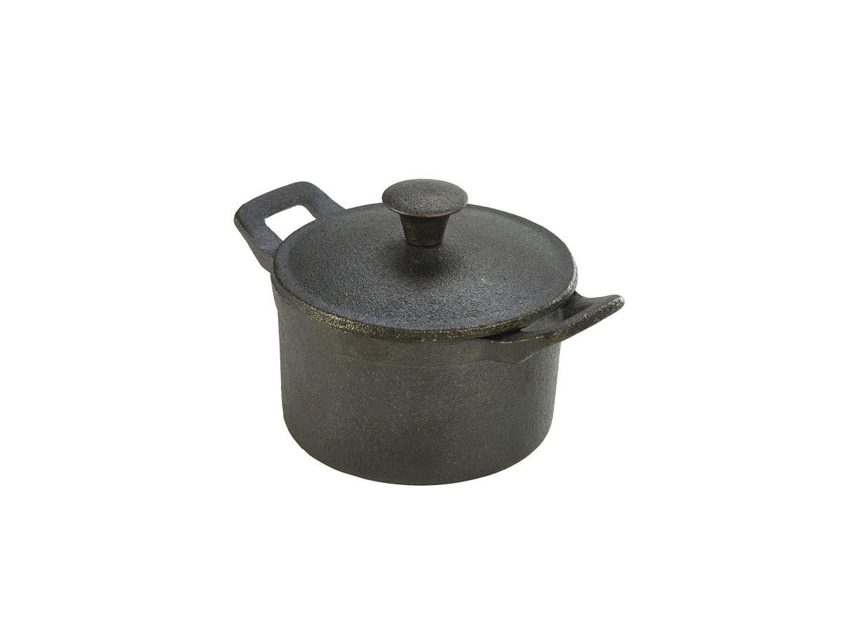 Productafbeelding Gietijzer mini pan rond met handvat/deksel 400 ml