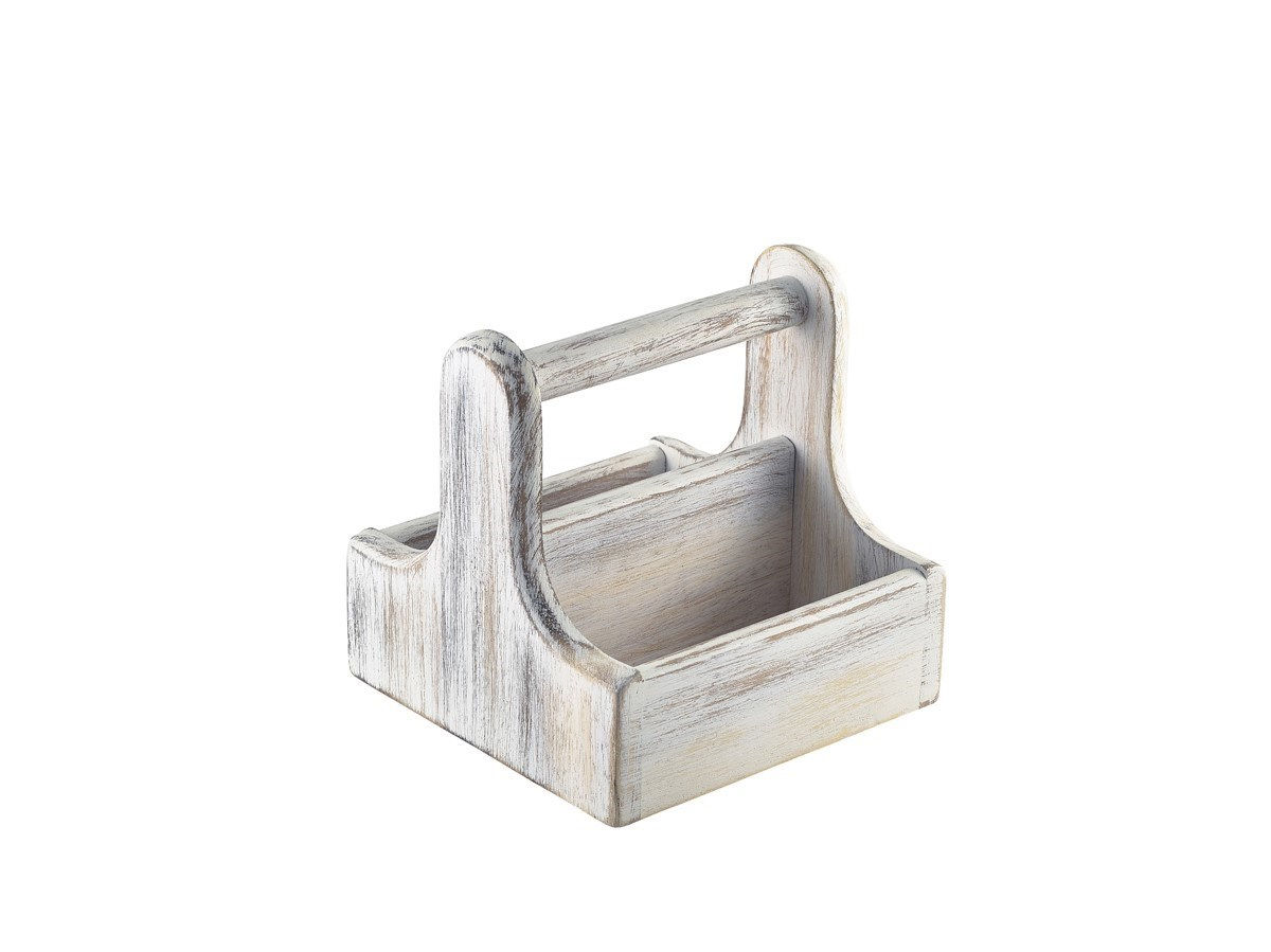 Productafbeelding Houten tafelcaddy klein m/handvat wit
