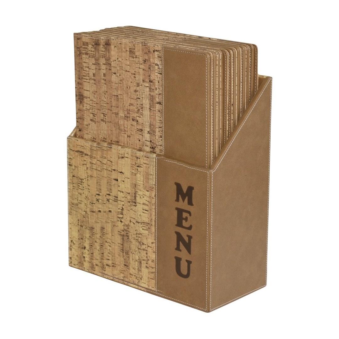 Productafbeelding Menukaartenset 10st incl houder naturel kurk