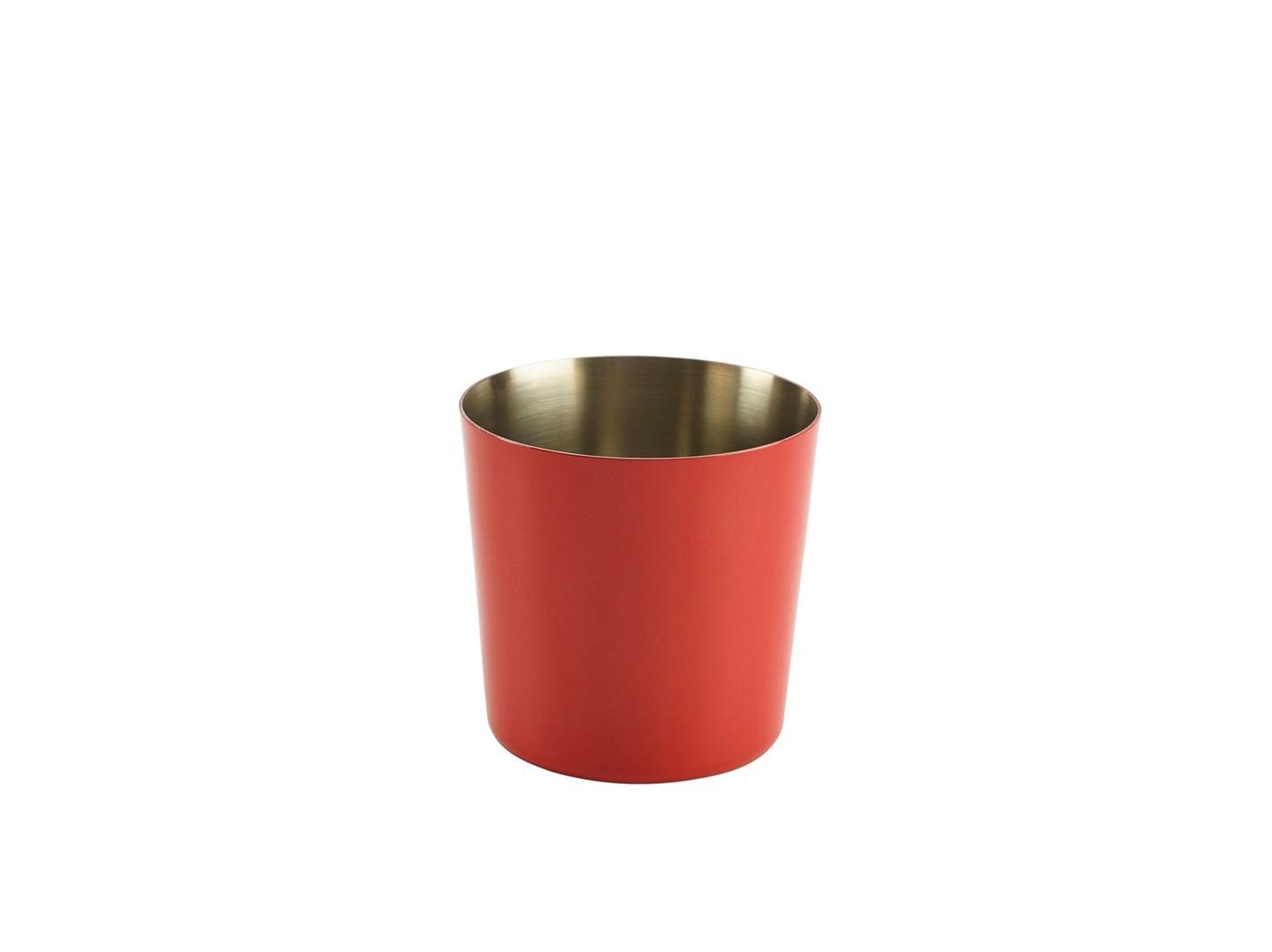 Productafbeelding RVS friet presentatiebakje rood glad 8,5 cm