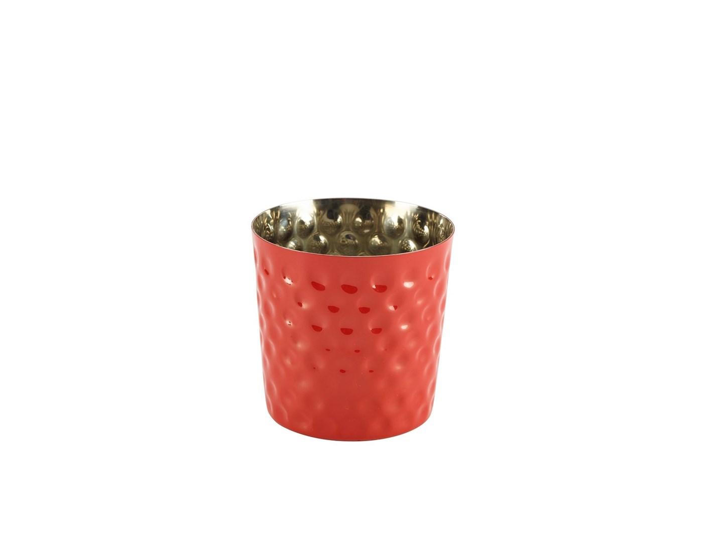 Productafbeelding RVS friet presentatiebakje rood gehamerd 8,5 cm