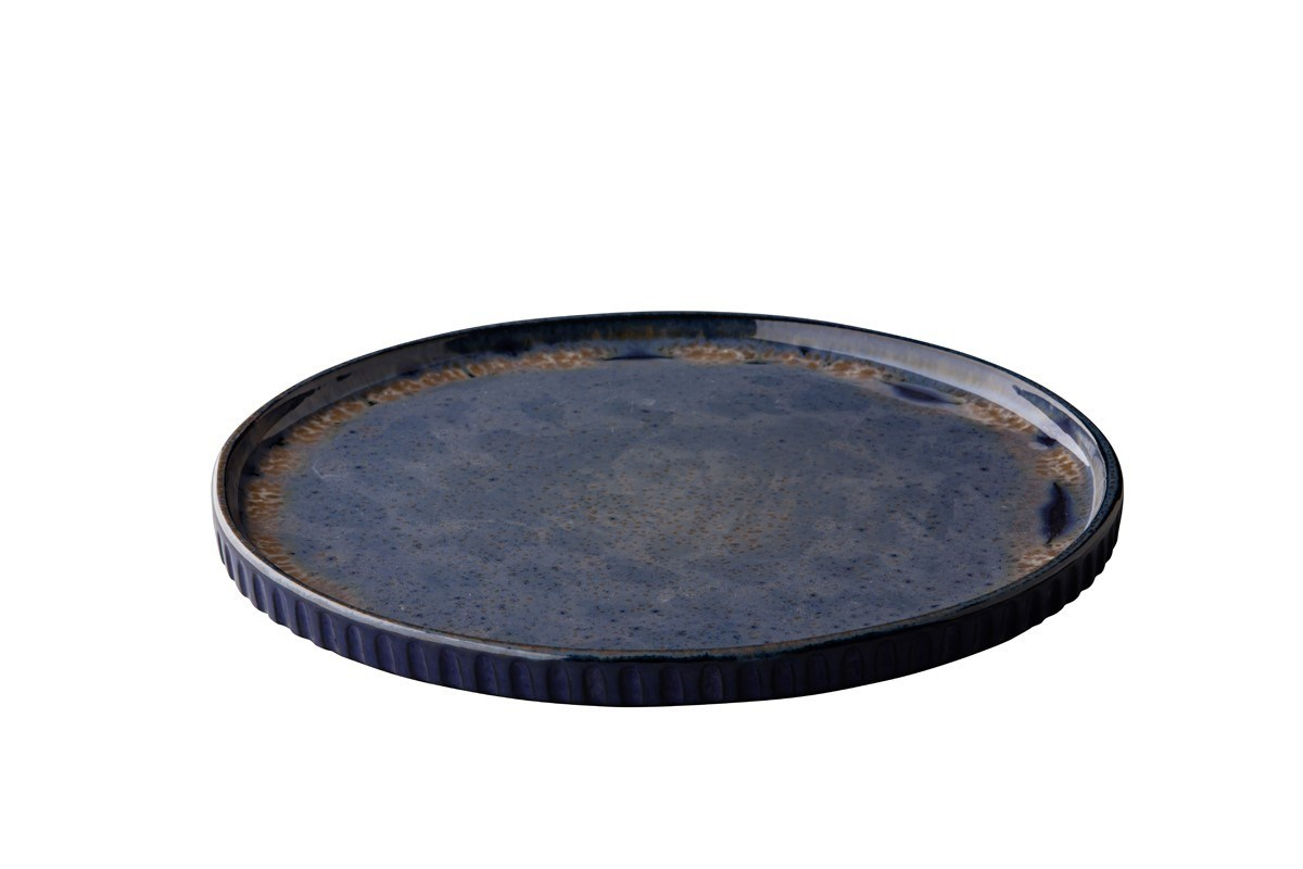 Productafbeelding Q Authentic Stone Blue bord met opstaande rand 26,5 cm