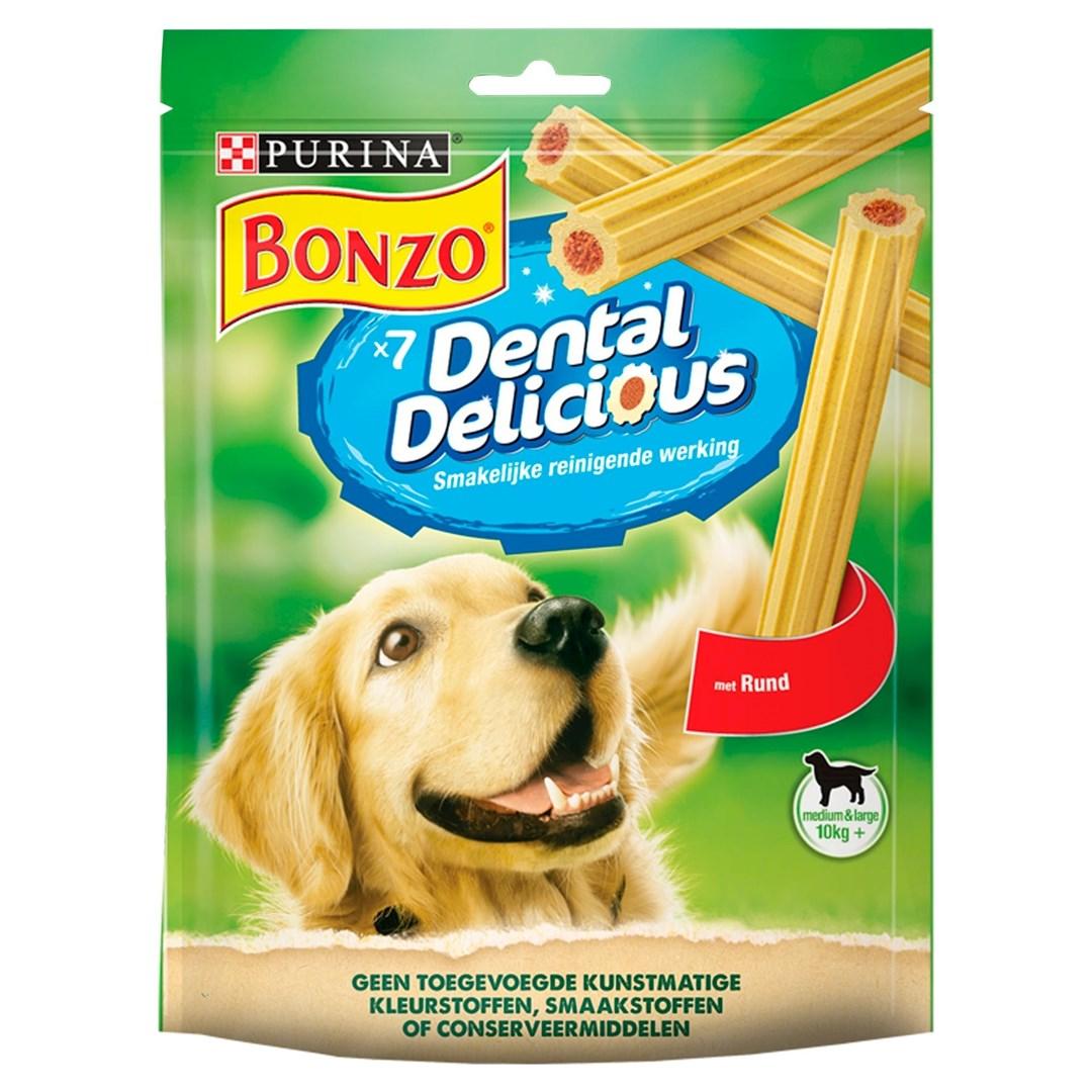 Productafbeelding PURINA BONZO DENTAL DELICIOUS Snacks voor honden Medium Rund 200g Stazak