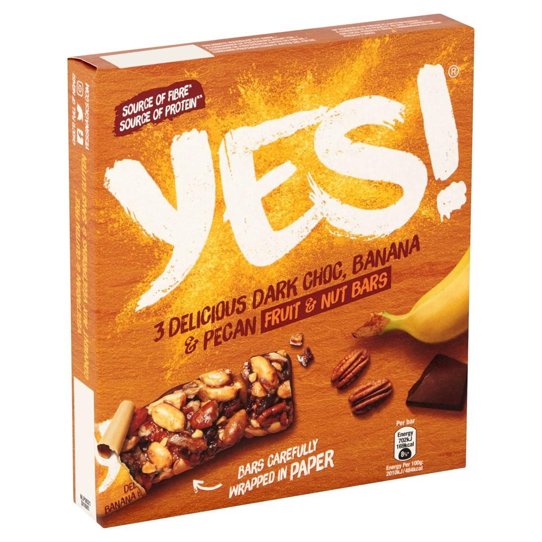 Productafbeelding YES Snack Reep Banaan Pecan + Donkere Chocolade 3x35 Gram Doos