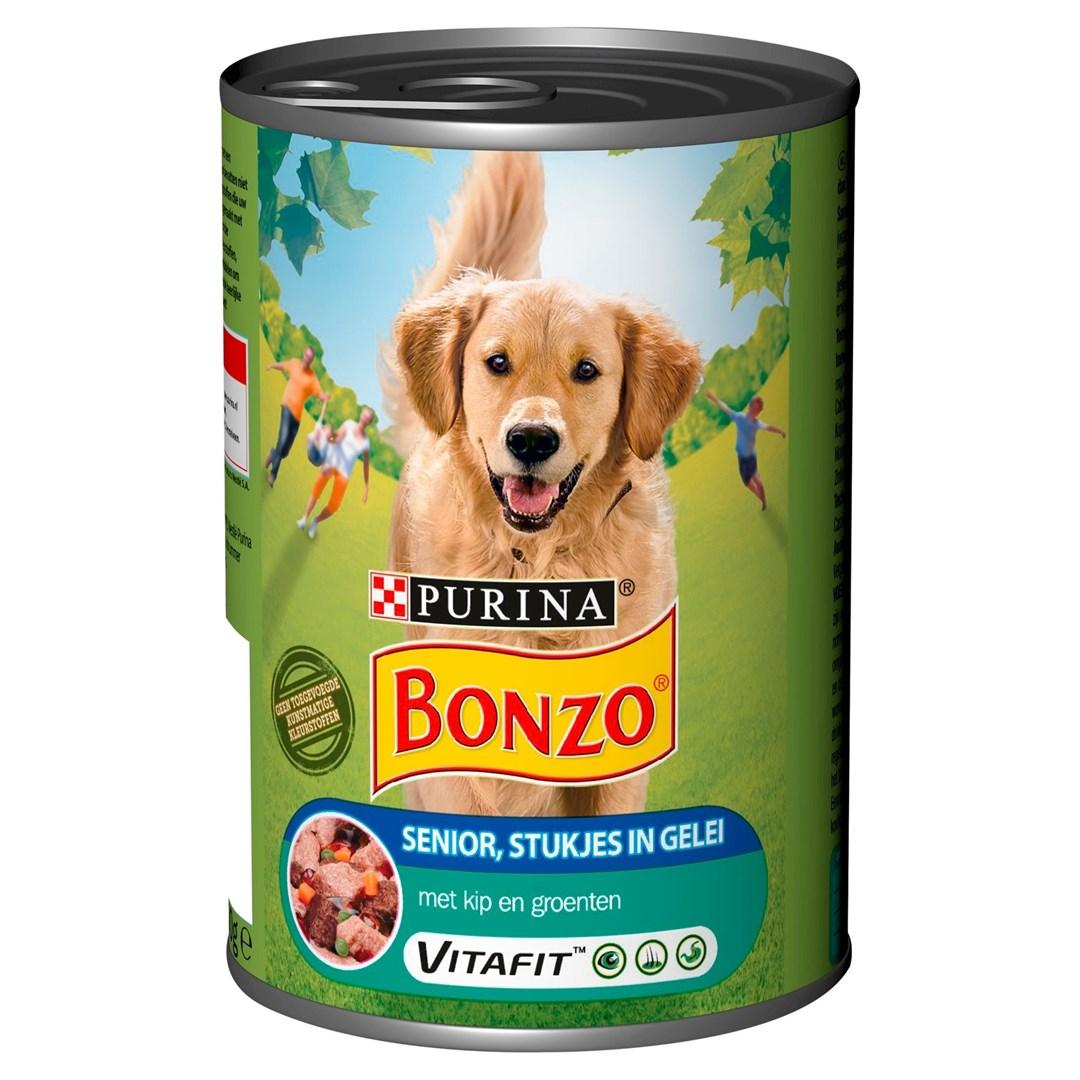 Productafbeelding PURINA BONZO SENIOR Nat hondenvoer BLIK Vlees in Gelei 400g Blik