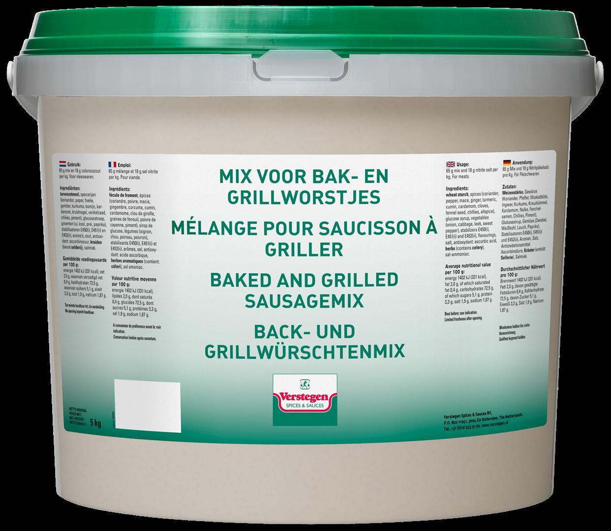 Productafbeelding Verstegen Mix voor bak- en grillworstjes 5000 g emmer