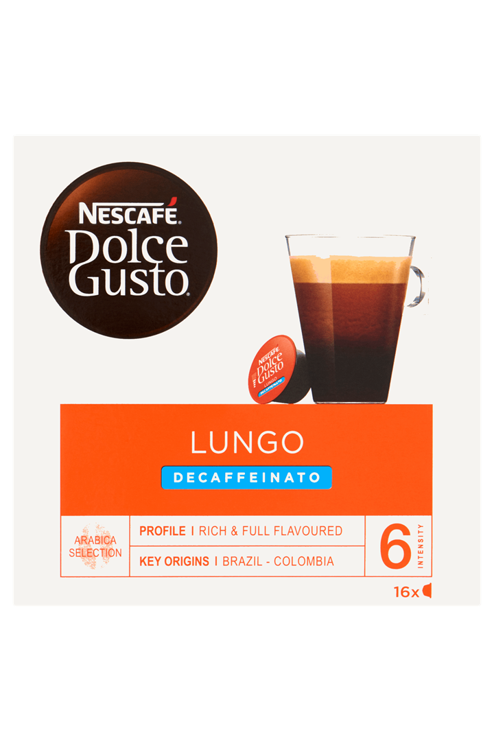 Productafbeelding NESCAFE DOLCE GUSTO gemalen Koffie Lungo decaf 112 Gram 16 Capsules Doos