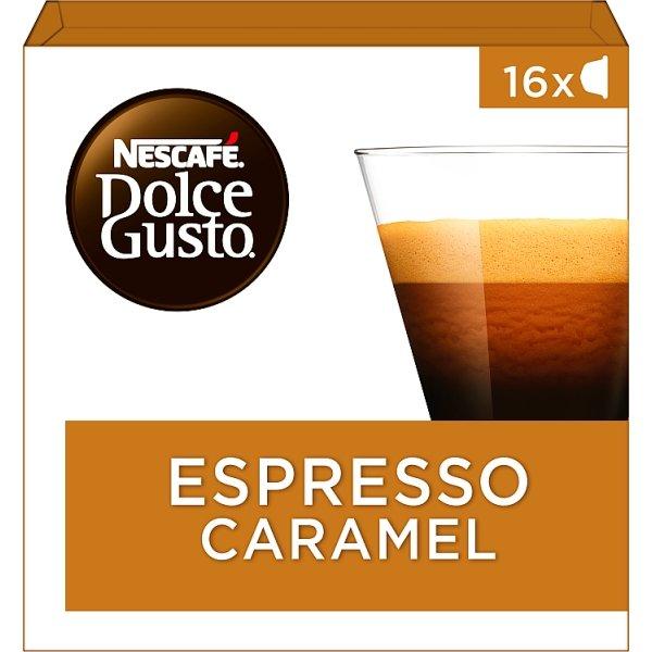 Productafbeelding NESCAFE DOLCE GUSTO Gemalen Koffie Espresso Caramel 83.2 Gram 16 Capsules Doos