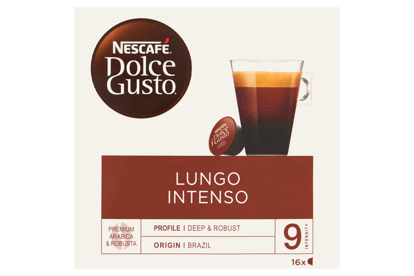 Productafbeelding NESCAFE DOLCE GUSTO Gemalen Koffie Lungo Intenso 144 Gram 16 Capsules Doos