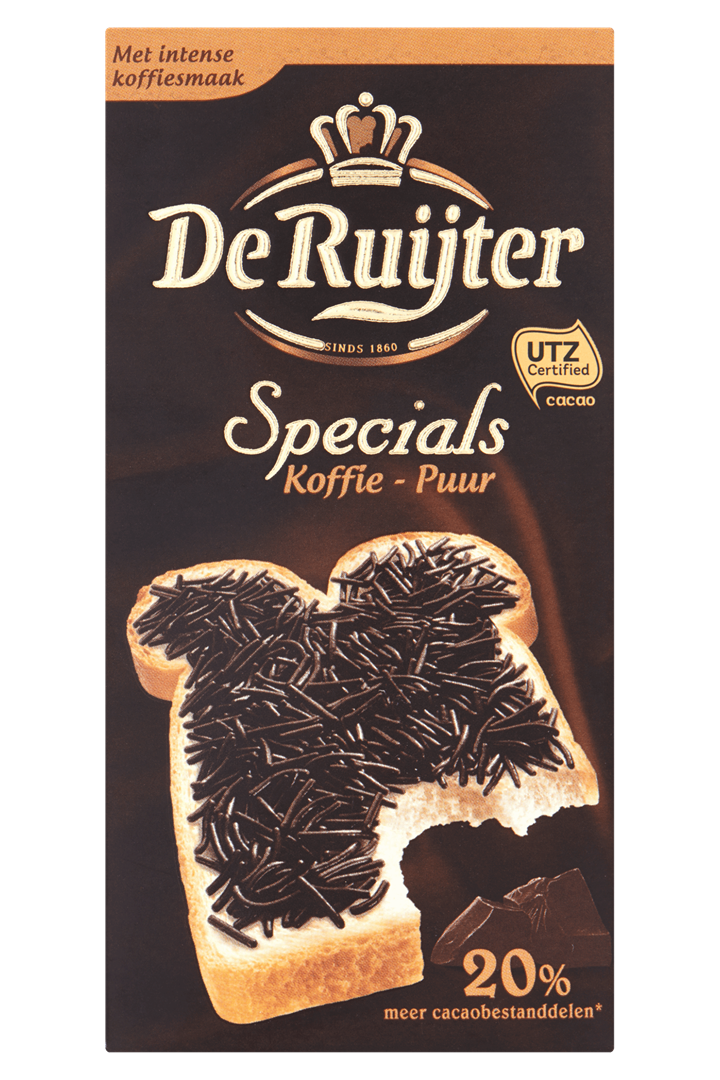 Productafbeelding De Ruijter Chocoladehagelslag Specials Koffie - Puur 220 g Doos