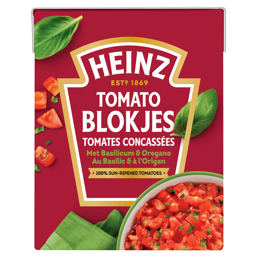 Productafbeelding Heinz Tomatenblokjes met Basilicum & Oregano 390 g Pak