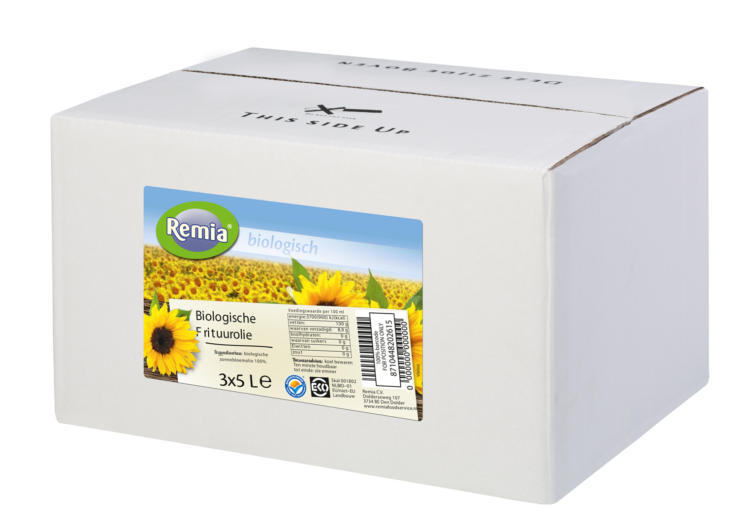 Productafbeelding Remia Biologische Frituurolie | Bag-in-Box 3 x 5 L