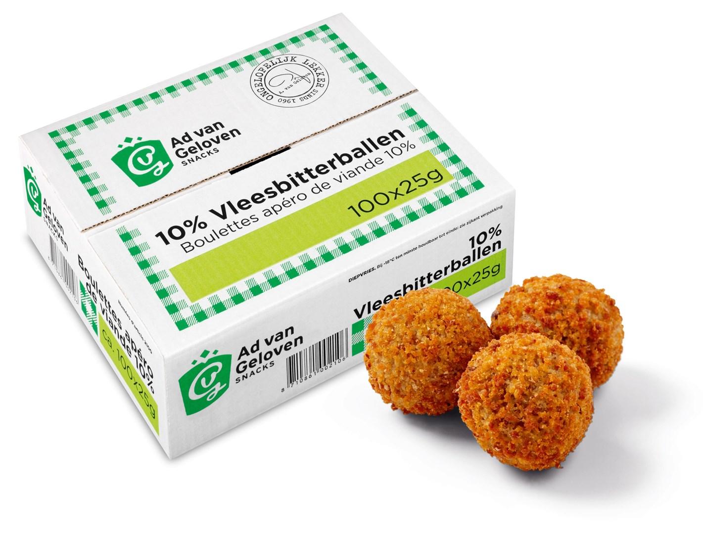 Productafbeelding Ad van Geloven 10% draadjesvleesbitterbal 100 x 25 gram