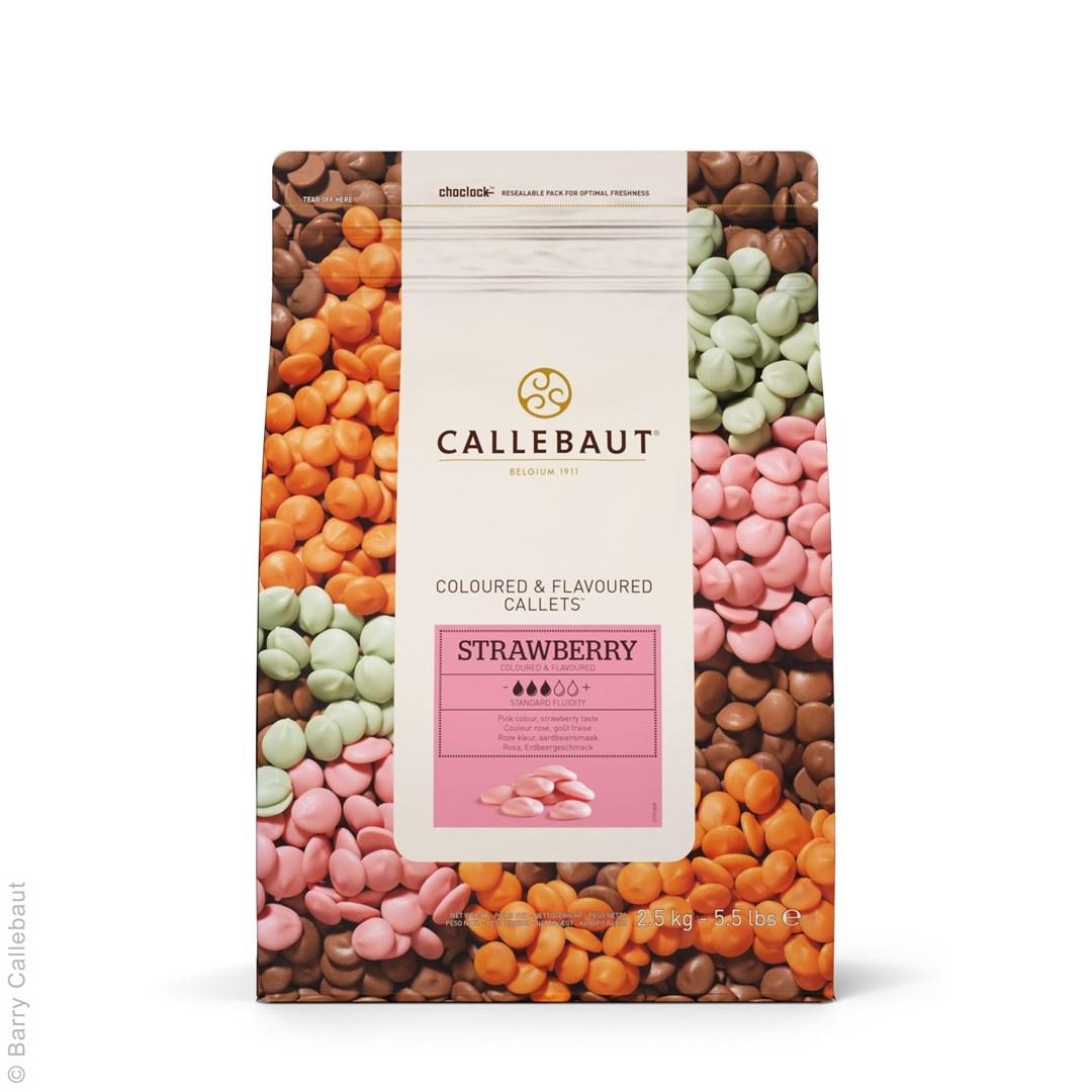 Productafbeelding Callebaut Chocolade Callets, gearomatiseerd en gekleurd - aardbei - 2,5 kg