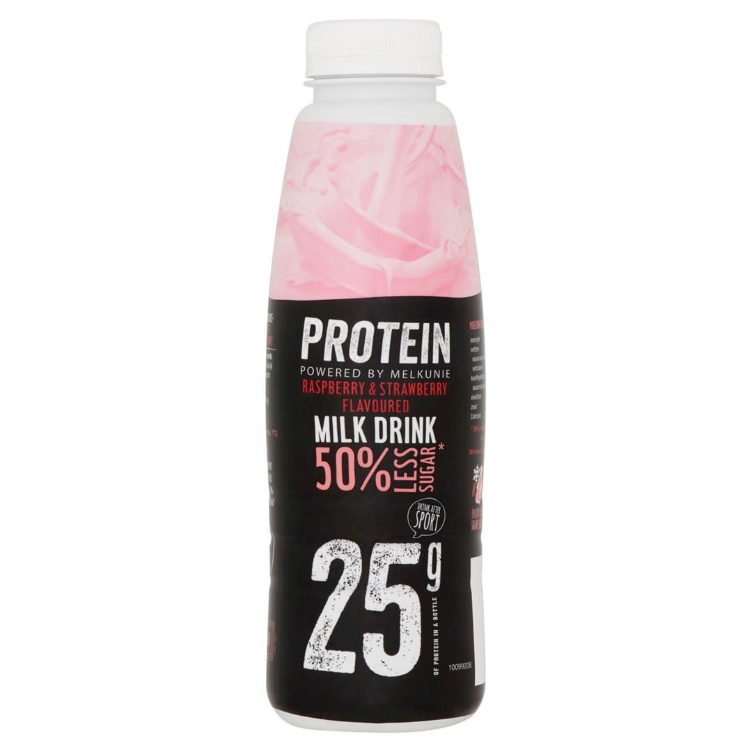 Productafbeelding Melkunie Prot Rasp/Strawb Milk Dr 500g FL
