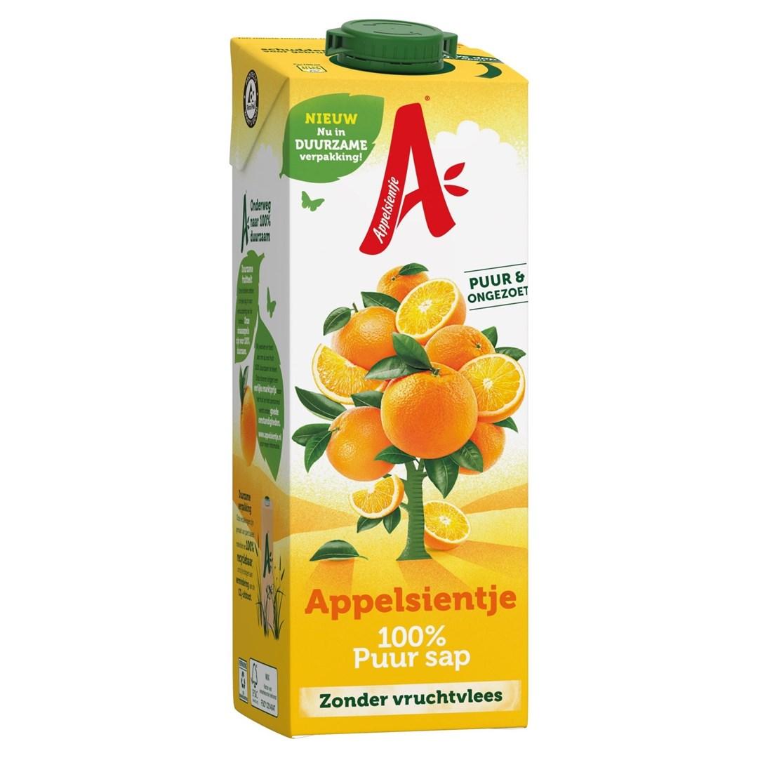 Productafbeelding Appelsientje vruchtensap sinaasappel zonder vruchtvlees 1 lt pak met punt