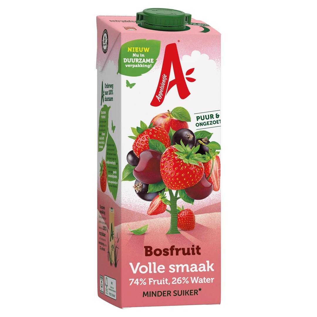 Productafbeelding Appelsientje vruchtensap Minder Fruitsuiker Bosfruit 1 lt pak met punt