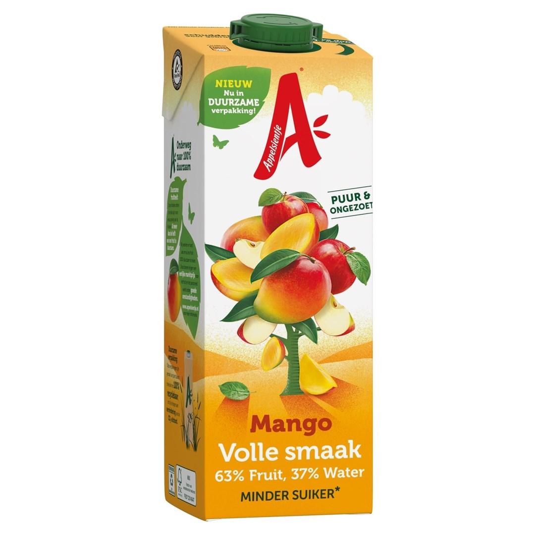 Productafbeelding Appelsientje vruchtensap Minder Fruitsuiker mango 1 lt pak met punt