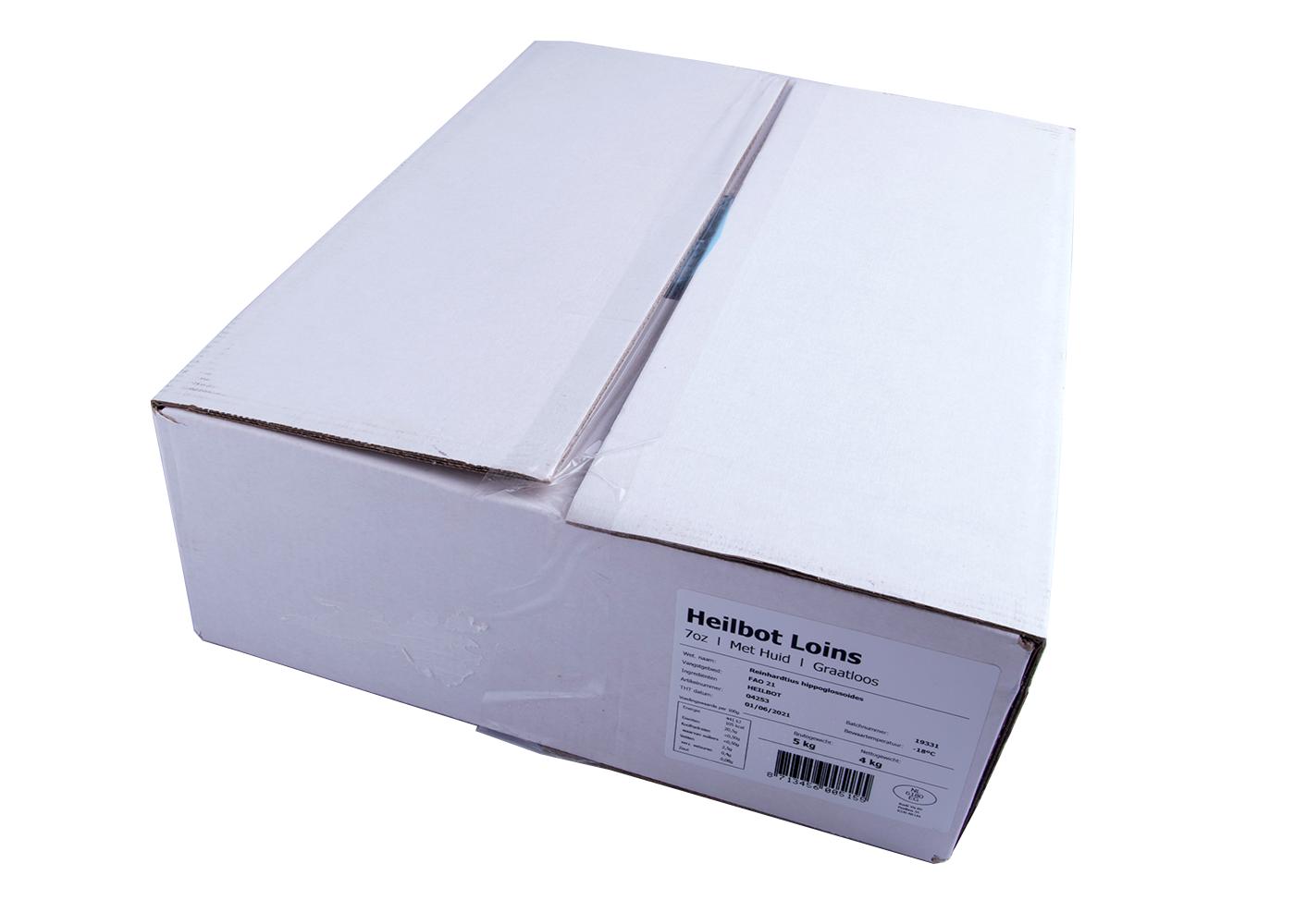 Productafbeelding HEILBOT RUG MET VEL BEVROREN 200 GRAM DOOS A 5 KG