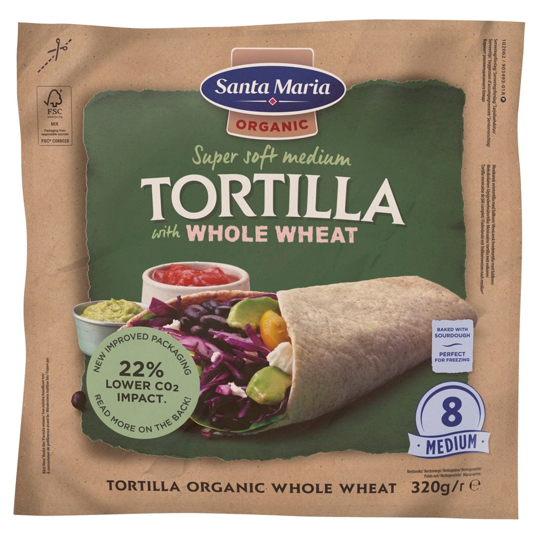 Productafbeelding Santa Maria 320G Tex Mex Tortilla Organic Whole Wheat (8-pack)