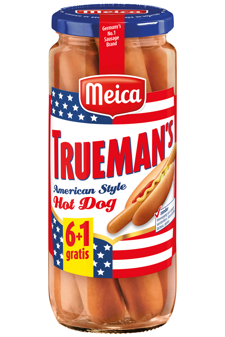 Productafbeelding Meica hot dogs Trueman's American style 6+1 540g pot